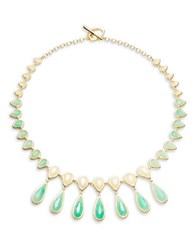 Karen Kane Layered Teardrop Statement Necklace Green
