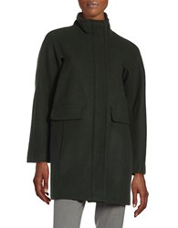 Vince Camuto Wool Blend Stand Collar Coat Deep Forest