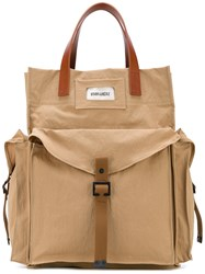 Dsquared2 Military Tote Men Cotton Calf Leather Polyimide One Size Nude Neutrals