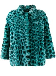 Simonetta Ravizza Animal Print Jacket Blue