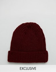 Reclaimed Vintage Mini Fisherman Beanie In Burgundy Red