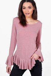 Boohoo Ruffle Hem And Cuff Knitted Top Blush