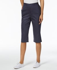 Alfred Dunner Petite Seas The Day Dot Print Pull On Capris Navy