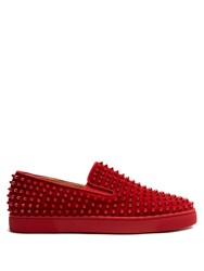 Christian Louboutin Roller Boat Spike Embellished Slip On Trainers Red