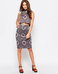 First And I Deco Print Pencil Skirt Port Royal Purple