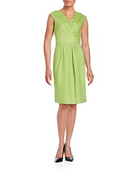 Lafayette 148 New York V Neck Linen Dress Chartreuse