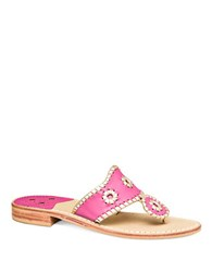 Jack Rogers Palm Beach Leather Thong Sandal Bright Pink