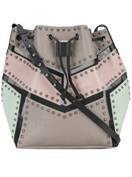 Diesel Mesh Trimmed Bucket Bag Women Leather Nylon Metal One Size Nude Neutrals