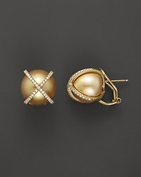 Tara Pearls X's And O's 18K Yellow Gold Diamond And Cultured Gold South Sea Pearl Earrings 14Mm