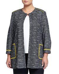 Misook Cropped Sleeve Open Front Jacket Black White Yellow