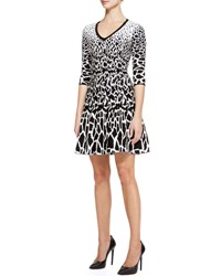 Roberto Cavalli Giraffe Print Full Skirt Dress Black White