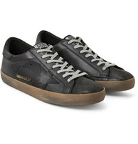 Golden Goose Deluxe Brand Superstar Distressed Leather And Nubuck Sneakers Black