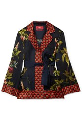 F.R.S For Restless Sleepers Giocasta Printed Silk Wrap Top Navy