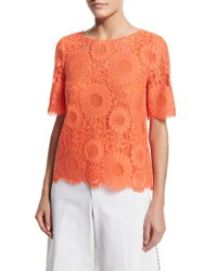 Trina Turk Short Sleeve Floral Lace Top Women's