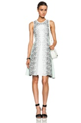 Opening Ceremony Speckle Flare Viscose Blend Dress In White Animal Print