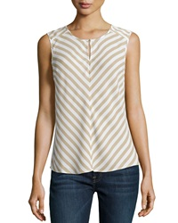 Laundry By Shelli Segal Keyhole Striped Sleeveless Blouse Oxford Tan Multi
