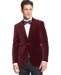Alfani Red Velvet Slim Fit Sport Coat Burgundy