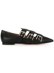 Red Valentino Buckle Strap Loafers Women Calf Leather Leather 38 Black
