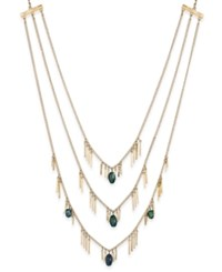 Inc International Concepts Gold Tone Three Row Beaded Fringe Necklace Only At Macy's