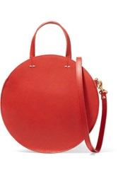 Clare V. Alistair Small Leather Shoulder Bag Red