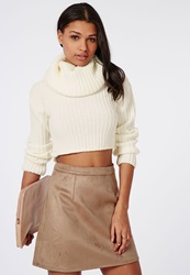 Missguided Cowl Neck Skinny Rib Knitted Sweater Cream
