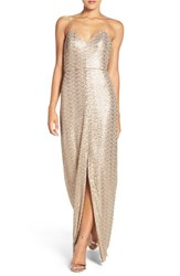 Amsale Women's 'Samantha' Spaghetti Strap V Neck Sequin Gown Latte