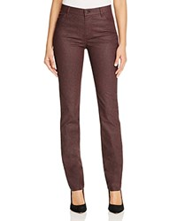 Lafayette 148 New York Thompson Herringbone Print Waxed Slim Jeans In Cabernet Cabernet Multi