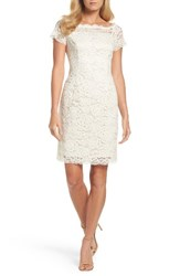 Adrianna Papell Women's Off The Shoulder Lace Sheath Dress Cream Powder