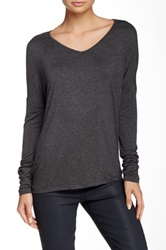 Sweet Romeo Long Sleeve V Neck Tee Gray