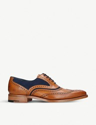 Barker Mcclean Leather And Suede Oxford Brogues Tan Comb