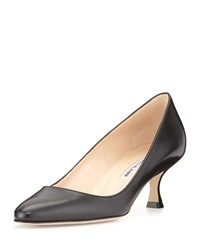 Manolo Blahnik Sena Leather Almond Toe Pump Black