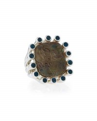 Stephen Dweck Carved Smoky Quartz And Blue Topaz Cocktail Ring No Color