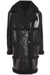 Ainea Woman Double Breasted Faux Shearling Coat Black