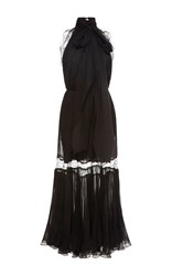 Maria Lucia Hohan Elora Lace Trim Halter Dress Black