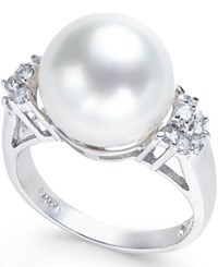 Macy's Cultured Freshwater Pearl 12Mm And Diamond 1 4 Ct. T.W. Ring In 14K White Gold