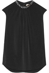 Michael Michael Kors Embellished Stretch Jersey Top Black