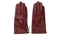 Whistles Zip Side Leather Glove Burgundy