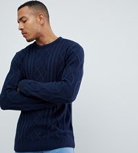 Another Influence Tall Cable Knit Jumper Navy