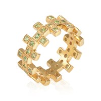 Maiko Nagayama Zig Zag Twi In A Row Green Garnet Ring Gold Green