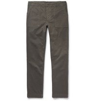 Officine Generale Slim Fit Garment Dyed Cotton Twill Trousers Green