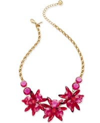 Kate Spade New York Gold Tone Crystal Flower Collar Necklace Pink Multi