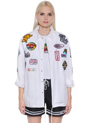 Gcds Patch Embroidered Cotton Denim Jacket