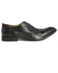 Hudson Rowe Black Leather Derbies With Taupe Perforated Toe