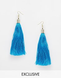 Reclaimed Vintage Turquoise Tassel Earrings Black