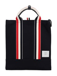 Thom Browne Cotton Canvas Tote Bag Navy