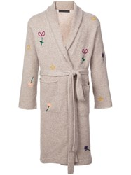 The Elder Statesman Floral Embroidery Robe Grey