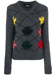 Dsquared2 Embroidered Sweater Women Polyamide Polyester Wool Xs Grey