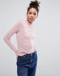 Monki Step Neck Cupro Long Sleeve Top Pink