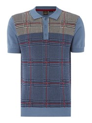 Merc Men's Short Sleeve Knitted Check Polo Light Blue