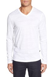 Men's Boss 'Tyson' V Neck Long Sleeve T Shirt White